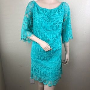 Xhilaration XXL Teal Lace Dress